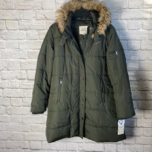 Maralyn & Me Olive Puffer Parka with texting cuff NWT